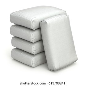 White bags on white background - 3D illustration