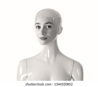 White bald female mannequin with beautiful human face