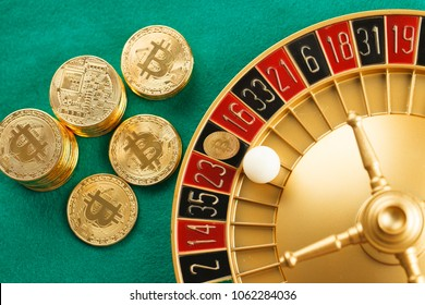 White ball on Bitcoin on roulette casino