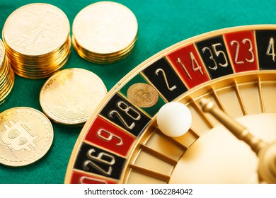 White ball on Bitcoin of roulette casino