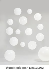 White balloons in circle with grey background