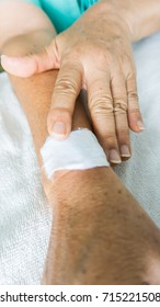 white bandage cover on blister  back arm  patient  as a result  after scratching injure or burn