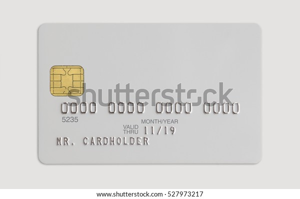 White bank credit card isolated on white background