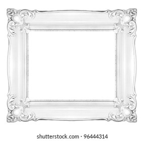 White baroque frame. Horizontal white frame isolated on white background, inner and outer clipping paths included.