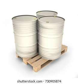 White barrels on a pallet (3d illustration)