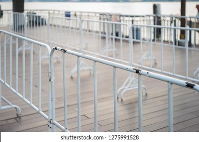 white barricade in the city image photo