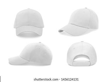 Weiße Baseballkappe in vier verschiedenen Blickwinkeln. Geh nach oben.