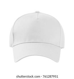 White baseball cap. Front view. isolated on white background. Mock up.