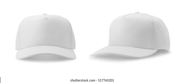 White baseball cap isolated on white background. front and side views.