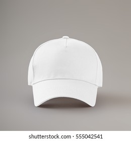 white baseball cap isolated on gray background