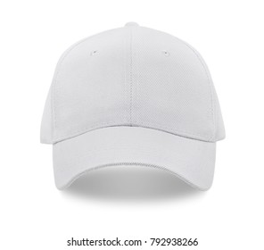 White baseball cap isolated on white background. Front view.