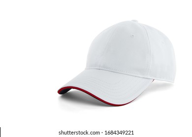 White baseball cap with a red stripe on the visor, isolated on a white background with a shadow.
