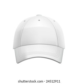 White baseball cap template (isolated on white, clipping path)