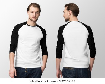 White baseball t-shirt with black tucked sleeves on a young man in jeans, isolated, front and back, mockup.