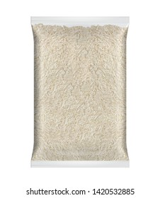 White Basmati Rice. Rice Packaging. Basmati White Rice Packaging on white Background