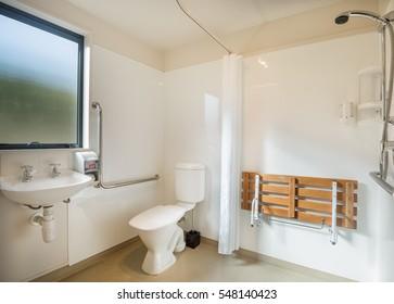 White bath room design for disable