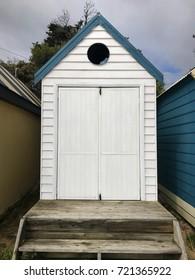 White bathing box on Dromana public foreshore