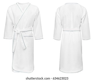 white bathrobe for home, isolated white background.