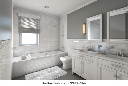 White Bathroom in Country House 3d Rendering