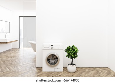 White bathroom interior with a washing machine, wooden floor, a tree in a pot, a sink and a tub. Panoramic window. 3d rendering mock up