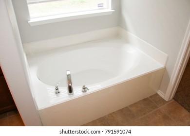 White Bathroom Tub Installed