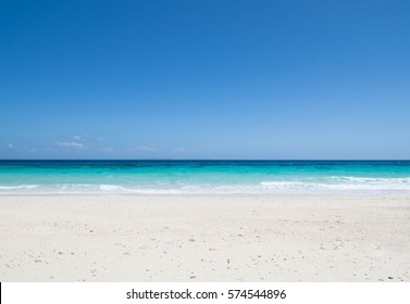 white beach and blue sea on clear sky day ,Phuket in Thailand