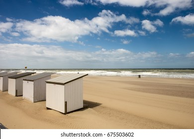 White beach cabins at Oostende, Belgium