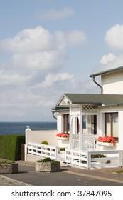 White beach house, Ruegen, Germany