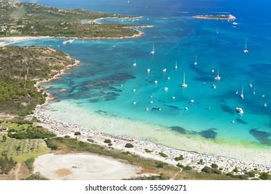 White beach in Sardinia, Italy. Aerial photo, birds eye view