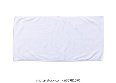 White beach towel mock up isolated with clipping path on white background, flat lay top view
