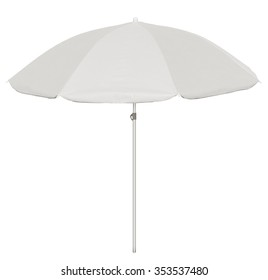 White beach umbrella isolated on white. Clipping path included.