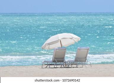White Beach Umbrellas and Loungers Miami Beach Florida