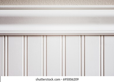 White beadboard or wainscot with top chair guard trim