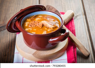 White beans and pork meat stew a delicious dish for winter