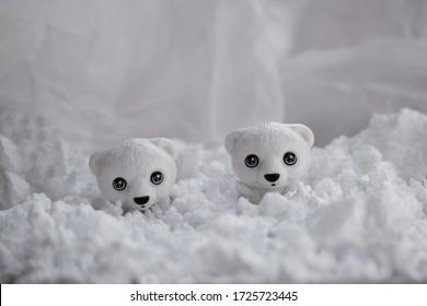 White bear figurine on the North Pole