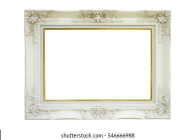 White beautiful frame on white background