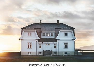 White beautiful house in iceland. North Iceland.