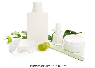 white beauty and cosmetics products, cream, lotion, nail polish