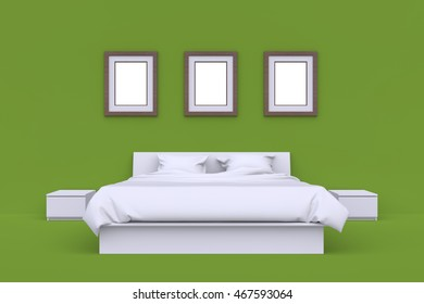 White bed with blanket, two pillows, bedside tables and three picture frames on wall in empty clean room. Front view. 3d render.