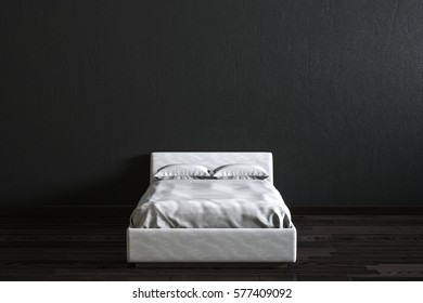 White bed in fron of black wall.