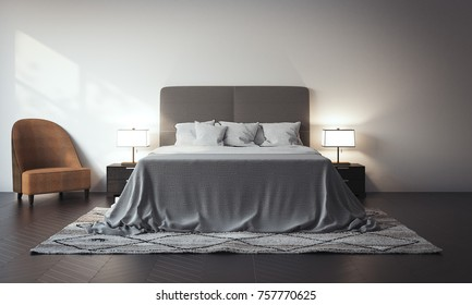 White bed in the interior with a lamp and armchair. 3d rendering
