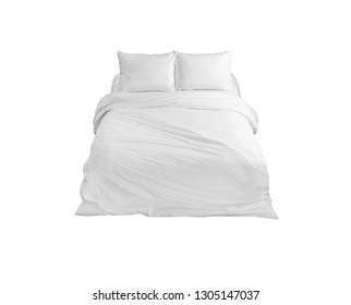 White bed isolated, white bed linen isolated, bed with pillows isolated