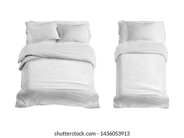 White bed top view isolated. Double and single bed with bedding isolated in the white background.