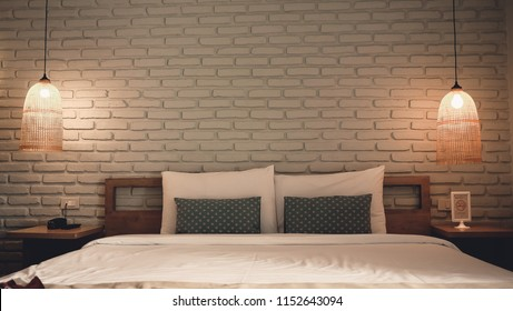 White bedroom design modern have lamp.