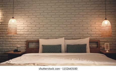 White bedroom design modern have lamp.