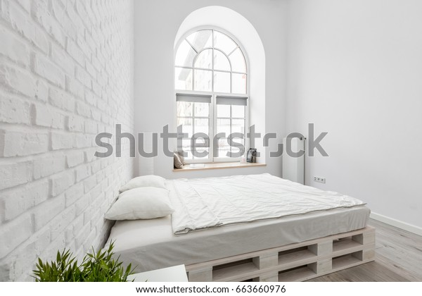 White Bedroom Diy Pallet Bed Brick Stock Photo (Edit Now
