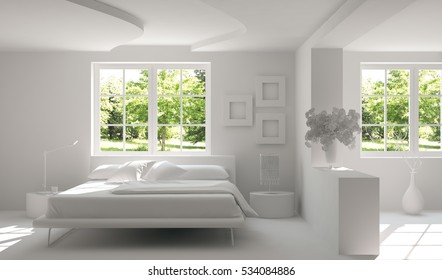 White bedroom with green landscape in window. Scandinavian interior design. 3D illustration