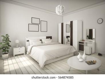 White Bedroom Minimal style Interior Design. 3D Rendering. 3D Illustration