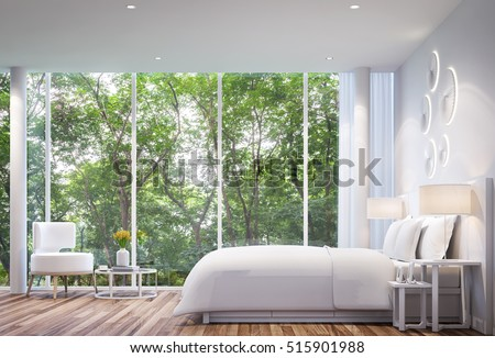 White Bedroom Modern Minimalist Style White Bed With Large Windows. Looking  To Experience Nature Up