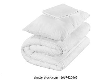 Textilartikel im weißen Schlafzimmer einzeln.